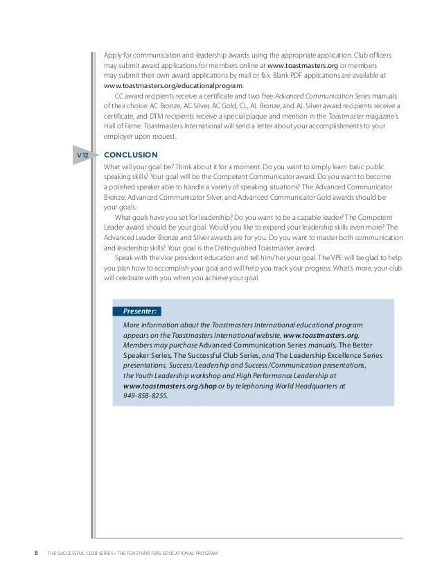 toastmasters cc manual project 2 pdf